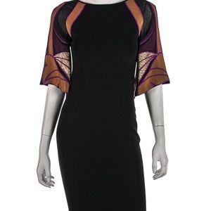 Gucci Black Dress/ SILK multi coloured sleeves